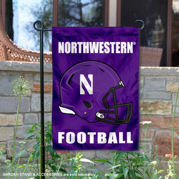 Northwestern Wildcats Helmet Yard Garden Flag is 13x18 inches in size, is made of 2-layer polyester with Liner, screen printed university athletic logos and lettering, and is readable and viewable correctly on both sides. Available same day shipping, our Northwestern Wildcats Helmet Yard Garden Flag is officially licensed and approved by the university and the NCAA.