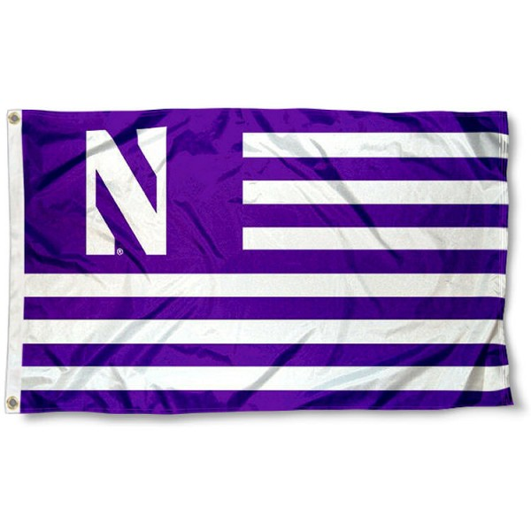 Northwestern Wildcats Stripes Flag measures 3'x5', is made of polyester, offers double stitched flyends for durability, has two metal grommets, and is viewable from both sides with a reverse image on the opposite side. Our Northwestern Wildcats Stripes Flag is officially licensed by the selected school university and the NCAA.
