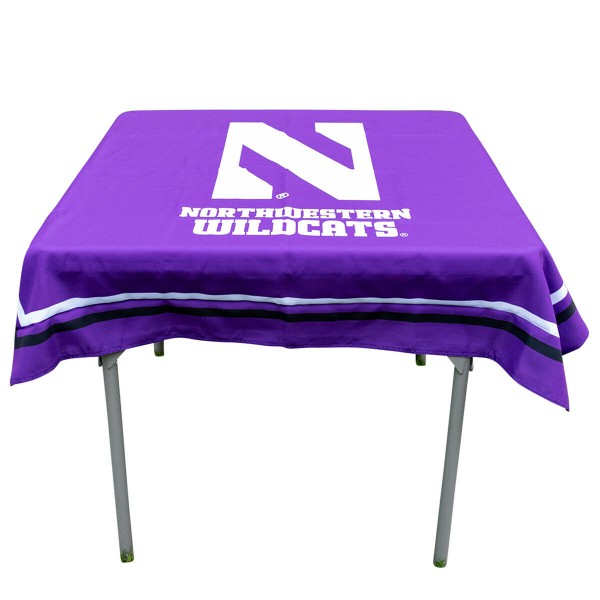 Northwestern Wildcats Table Cloth measures 48 x 48 inches, is made of 100% Polyester, seamless one-piece construction, and is perfect for any tailgating table, card table, or wedding table overlay. Each includes Officially Licensed Logos and Insignias.