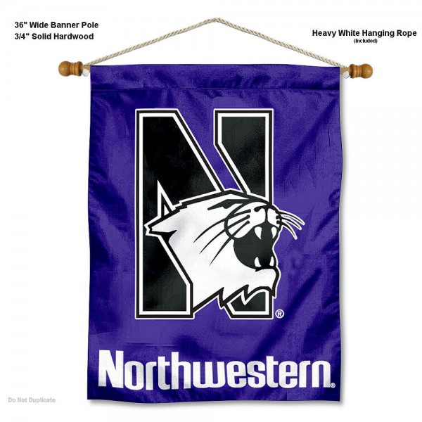 "Northwestern Wildcats Wall Banner is constructed of polyester material, measures a large 30""x40"", offers screen printed athletic logos, and includes a sturdy 3/4"" diameter and 36"" wide banner pole and hanging cord. Our Northwestern Wildcats Wall Banner is Officially Licensed by the selected college and NCAA."