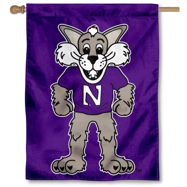 Northwestern Wildcats Willie the Wildcat House Flag is a vertical house flag which measures 30x40 inches, is made of 2 ply 100% polyester, offers screen printed NCAA team insignias, and has a top pole sleeve to hang vertically. Our Northwestern Wildcats Willie the Wildcat House Flag is officially licensed by the selected university and the NCAA.