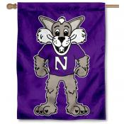 Northwestern Wildcats Willie the Wildcat House Flag