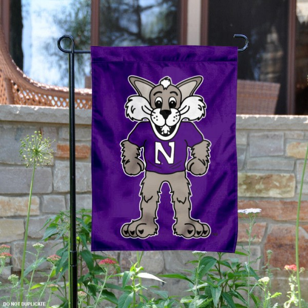 Northwestern Willie the Wildcat Garden Flag is 13x18 inches in size, is made of 2-layer polyester, screen printed university athletic logos and lettering. Available with Same Day Express Shipping, our Northwestern Willie the Wildcat Garden Flag is officially licensed and approved by the university and the NCAA.