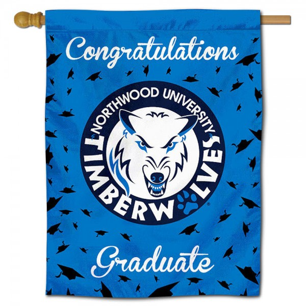 Northwood Timberwolves Congratulations Graduate Flag measures 30x40 inches, is made of poly, has a top hanging sleeve, and offers dye sublimated Northwood Timberwolves logos. This Decorative Northwood Timberwolves Congratulations Graduate House Flag is officially licensed by the NCAA.
