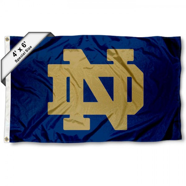 Notre Dame 4x6 Flag measures a huge 4x6 feet, is made of 100% nylon, offers quadruple stitched flyends, has two metal grommets, and offers screen printed NCAA team logos and insignias. Our Notre Dame 4x6 Flag is officially licensed by the selected university and NCAA.