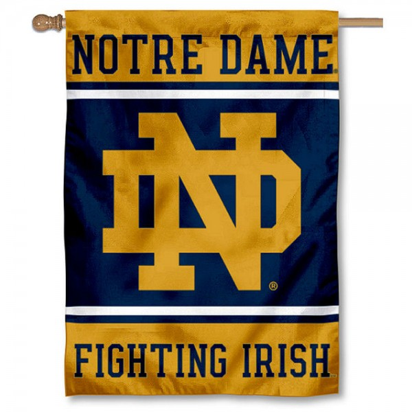 Notre Dame Fighting Irish Double Sided Banner is a vertical house flag which measures 28x40 inches, is made of 2 ply 100% nylon, offers screen printed NCAA team insignias, and has a top pole sleeve to hang vertically. Our Notre Dame Fighting Irish Double Sided Banner is officially licensed by the selected university and the NCAA.