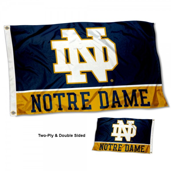 Notre Dame Fighting Irish Double Sided Flag measures 3'x5', is made of 2 layer 100% nylon, has quadruple stitched flyends for durability, and is readable correctly on both sides. Our Notre Dame Fighting Irish Double Sided Flag is officially licensed by the university, school, and the NCAA.