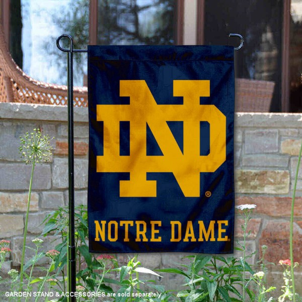 Notre Dame Fighting Irish Garden Flag is 13x18 inches in size, is made of 2-layer polyester, screen printed logos and lettering. Available with Same Day Express Shipping, Our Notre Dame Fighting Irish Garden Flag is officially licensed and approved by the NCAA.