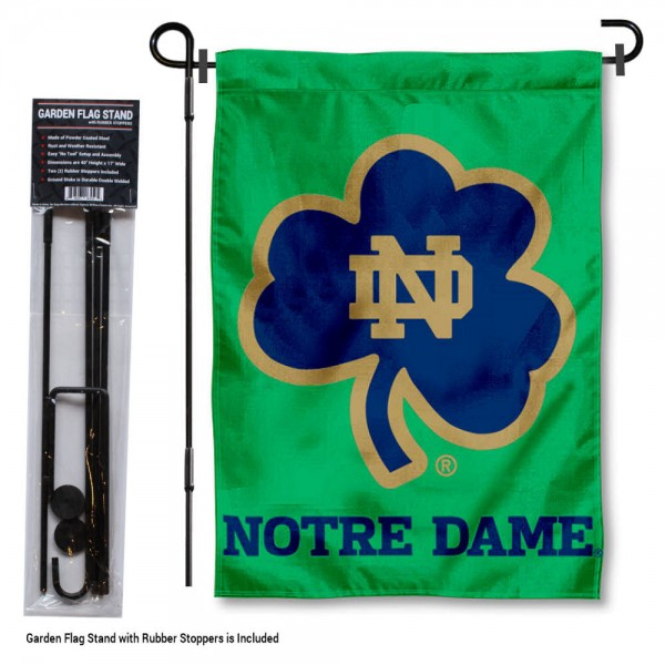 "Notre Dame Fighting Irish Garden Flag and Stand kit includes our 13""x18"" garden banner which is made of 2 ply poly with liner and has screen printed licensed logos. Also, a 40""x17"" inch garden flag stand is included so your Notre Dame Fighting Irish Garden Flag and Stand is ready to be displayed with no tools needed for setup. Fast Overnight Shipping is offered and the flag is Officially Licensed and Approved by the selected team."