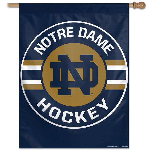 Notre Dame Fighting Irish Hockey House Flag is constructed of polyester material, is a vertical house flag, measures 27x37 inches, offers screen printed NCAA team insignias, and has a top pole sleeve to hang vertically. Our Notre Dame Fighting Irish Hockey House Flag is officially licensed by the selected university and NCAA.