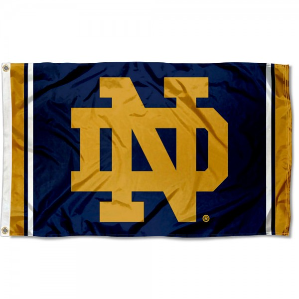 Notre Dame Fighting Irish New Logo Flag is made of 100% nylon, offers quad stitched flyends, measures 3x5 feet, has two metal grommets, and is viewable from both side with the opposite side being a reverse image. Our Notre Dame Fighting Irish New Logo Flag is officially licensed by the selected college and NCAA