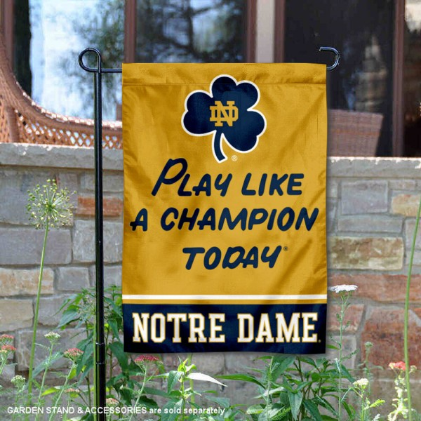 Notre Dame Fighting Irish Play Like A Champion Garden Flag is 12x18 inches in size, is made of 1-layer polyester, screen printed logos and lettering, and is viewable on both sides. Available same day shipping, our Notre Dame Fighting Irish Play Like A Champion Garden Flag is officially licensed and approved by the university and the NCAA.