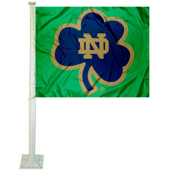 Notre Dame Fighting Irish Shamrock Car Flag measures 12x15 inches, is constructed of sturdy 2 ply polyester, and has screen printed school logos which are readable and viewable correctly on both sides. Notre Dame Fighting Irish Shamrock Car Flag is officially licensed by the NCAA and selected university.