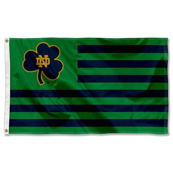 Notre Dame Fighting Irish Shamrock Nation Flag measures 3'x5', is made of nylon, offers four-stitched flyends for durability, has two metal grommets, and is viewable from both sides with a reverse image on the opposite side. Our Notre Dame Fighting Irish Shamrock Nation Flag is officially licensed by the selected school university and the NCAA.