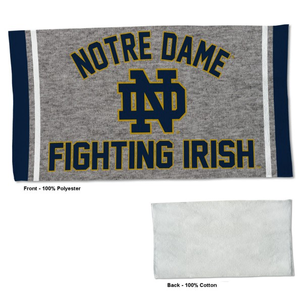 Notre Dame Fighting Irish Workout Exercise Towel measures 22x42 inches, is made of 100% Polyester on the front and 100% Cotton on the back, has double stitched sewing perimeter, and Graphics and Logos, as shown. Our Notre Dame Fighting Irish Workout Exercise Towel is officially licensed by the selected university and the NCAA. Also, machine washable and dryer safe.