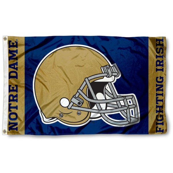 Notre Dame Football Flag measures 3'x5', is made of 100% Nylon, has quadruple stitched sewing, two metal grommets, and has double sided Notre Dame logos. Our Notre Dame Football Flag is officially licensed by the selected university and the NCAA.