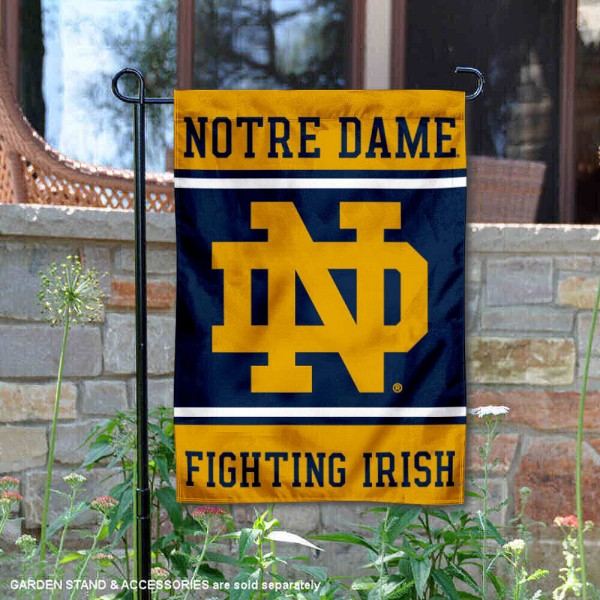 Notre Dame Garden Flag is 13x18 inches in size, is made of 2-layer polyester, screen printed logos and lettering. Available with Same Day Express Shipping, Our Notre Dame Garden Flag is officially licensed and approved by the NCAA.