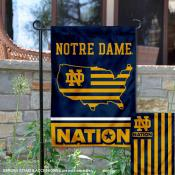 Notre Dame Garden Flag with USA Country Stars and Stripes