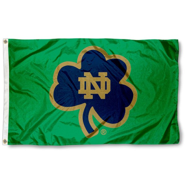 Notre Dame Green Shamrock Flag is made of 100% nylon, offers quad stitched flyends, measures 3x5 feet, has two metal grommets, and is viewable from both side with the opposite side being a reverse image. Our Notre Dame Green Shamrock Flag is officially licensed by the selected college and NCAA and has express shipment.