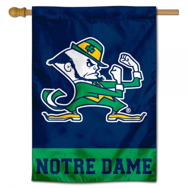 "These Notre Dame House Flags are constructed of polyester material, is a vertical house flag, measures 28""x42"", offers screen printed athletic insignias, and has a top pole sleeve to hang vertically. Our Notre Dame House Flag is Officially Licensed by University of Notre Dame and NCAA."