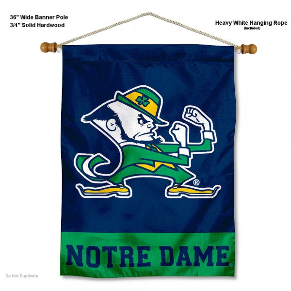 "Notre Dame Leprechaun Logo Wall Banner is constructed of polyester material, measures a large 28""x40"", offers screen printed athletic logos, and includes a sturdy 3/4"" diameter and 36"" wide banner pole and hanging cord. Our Notre Dame Leprechaun Logo Wall Banner is Officially Licensed by the selected college and NCAA."
