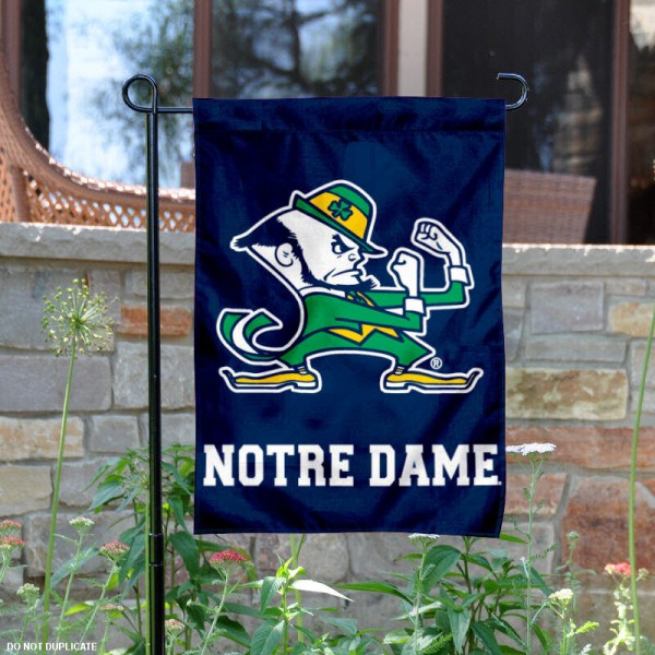 Notre Dame Leprechaun Yard Banner is 13x18 inches in size, is made of 2-layer polyester, screen printed Fighting Irish athletic logos and lettering. Available with Same Day Express Shipping, Our Notre Dame Leprechaun Yard Banner is officially licensed and approved by Fighting Irish and the NCAA.