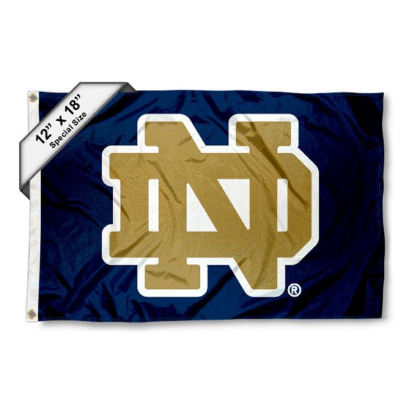 Notre Dame Nautical Flag measures 12x18 inches, is made of two-ply nylon, offers double stitched flyends for durability, has two metal grommets, and is viewable from both sides. Our Notre Dame Nautical Flag is officially licensed by the selected university and the NCAA and can be used as a motorcycle flag, golf cart flag, or ATV flag