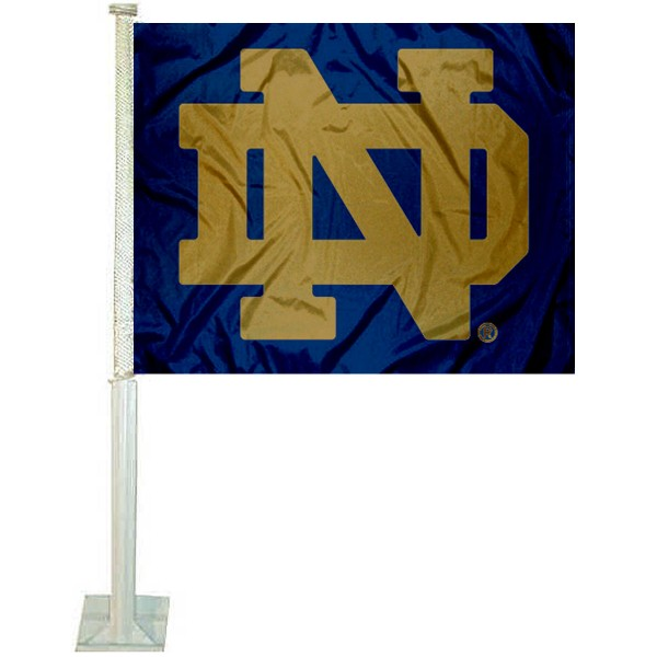 Notre Dame ND Car Window Flag measures 12x15 inches, is constructed of sturdy 2 ply polyester, and has screen printed school logos which are readable and viewable correctly on both sides. Notre Dame ND Car Window Flag is officially licensed by the NCAA and selected university.