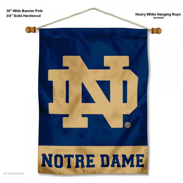 "Notre Dame ND Logo Wall Banner is constructed of polyester material, measures a large 28""x40"", offers screen printed athletic logos, and includes a sturdy 3/4"" diameter and 36"" wide banner pole and hanging cord. Our Notre Dame ND Logo Wall Banner is Officially Licensed by the selected college and NCAA."