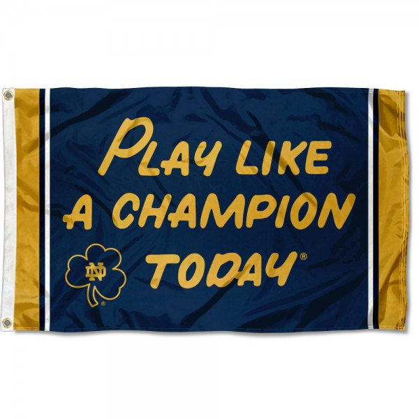 Notre Dame Play Like A Champion Today Flag measures 3'x5', is made of 100% poly, has quadruple stitched sewing, two metal grommets, and has double sided Team University logos. Our Notre Dame Play Like A Champion Today Flag is officially licensed by the selected university and the NCAA.