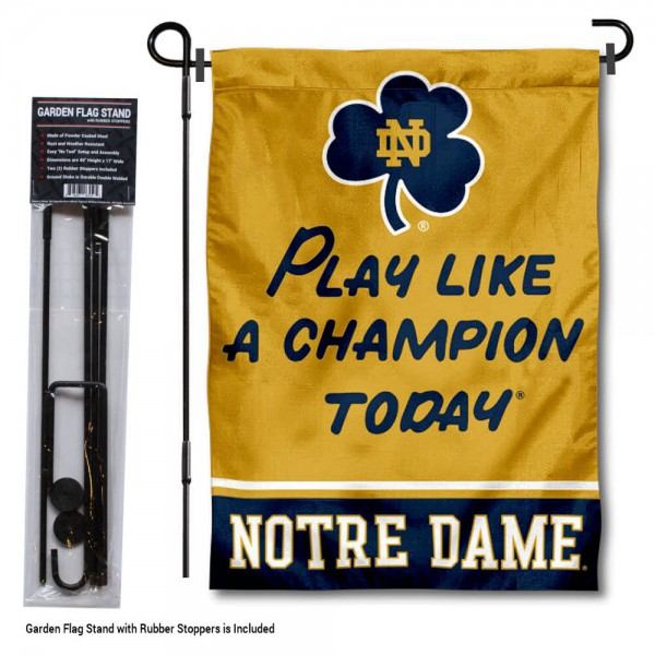 "Notre Dame Play Like A Champion Today Garden Flag and Pole Stand kit includes our 12""x18"" garden banner which is made and assembled in the USA, is made of 1 ply poly, and has screen printed licensed logos. Also, a 40""x17"" inch garden flag stand is included so your Notre Dame Play Like A Champion Today Garden Flag and Pole Stand is ready to be displayed with no tools needed for setup. Fast Overnight Shipping is offered and the flag is Officially Licensed and Approved by the selected team."