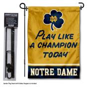 Notre Dame Play Like A Champion Today Garden Flag and Pole Stand