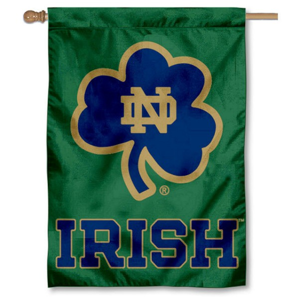 Notre Dame Shamrock Double Sided Banner is a vertical house flag which measures 28x40 inches, is made of 2 ply 100% nylon, offers screen printed NCAA team insignias, and has a top pole sleeve to hang vertically. Our Notre Dame Shamrock Double Sided Banner is officially licensed by the selected university and the NCAA.