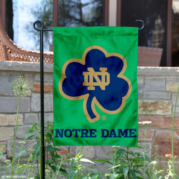 Notre Dame Shamrock Garden Flag is 13x18 inches in size, is made of 2-layer polyester, screen printed logos and lettering. Available with Same Day Express Shipping, Our Notre Dame Shamrock Garden Flag is officially licensed and approved by Fighting Irish and the NCAA.