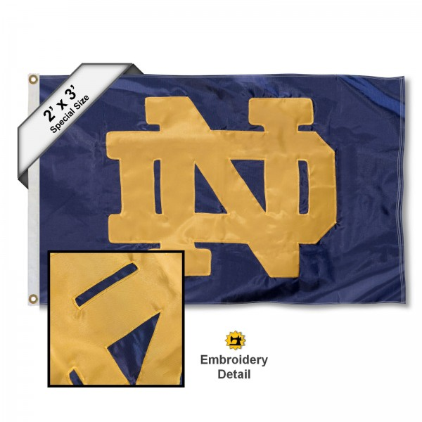 Notre Dame Small 2'x3' Flag measures 2x3 feet, is made of 100% nylon, offers quadruple stitched flyends, has two brass grommets, and offers embroidered ND logos and insignias. Our Notre Dame Small 2'x3' Flag is officially licensed by the selected university.