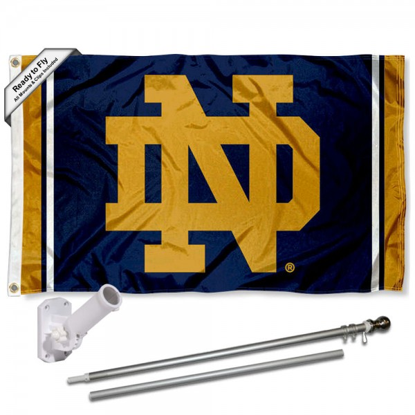 Our Notre Dame Stripes Flag Pole and Bracket Kit includes the flag as shown and the recommended flagpole and flag bracket. The flag is made of nylon, has quad-stitched flyends, and the NCAA Licensed team logos are double sided screen printed. The flagpole and bracket are made of rust proof aluminum and includes all hardware so this kit is ready to install and fly.