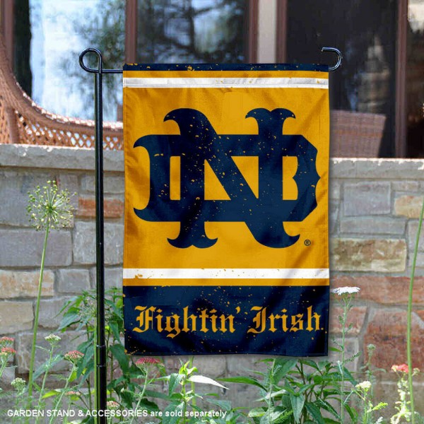 Notre Dame Vintage Vault Garden Flag is 12x18 inches in size, is made of 1-layer polyester, screen printed logos and lettering, and is viewable on both sides. Available same day shipping, our Notre Dame Vintage Vault Garden Flag is officially licensed and approved by the university and the NCAA.