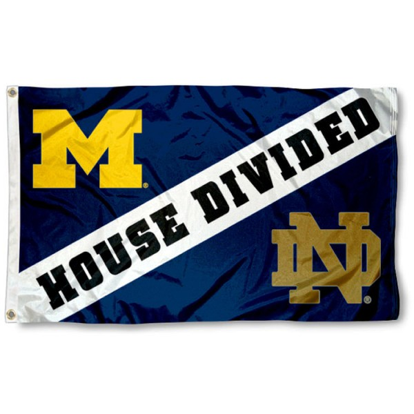 Notre Dame vs. Michigan House Divided Flag sizes at 3x5 feet, is made of 100% nylon, has quadruple-stitched fly ends, and the university logos are embroidered into the Notre Dame vs. Michigan House Divided Flag. The Notre Dame vs. Michigan House Divided Flag is approved by the NCAA and the selected university.