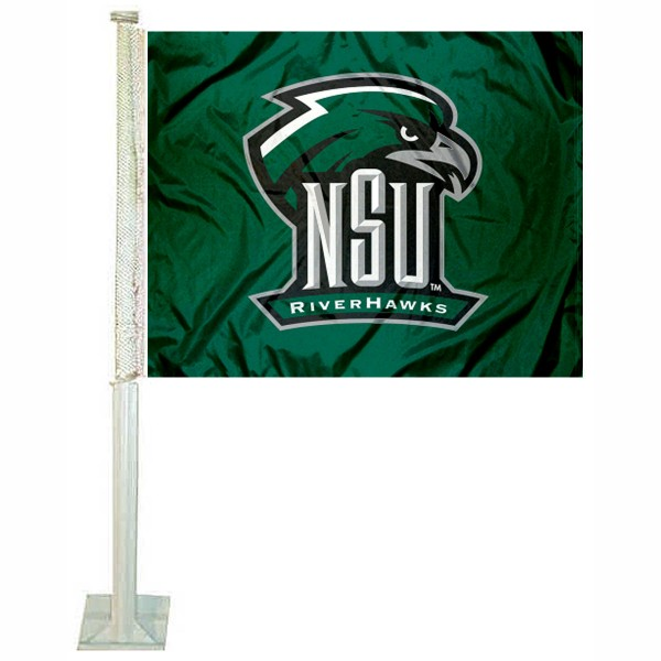 NSU Riverhawks Car Flag measures 12x15 inches, is constructed of sturdy 2 ply polyester, and has screen printed school logos which are readable and viewable correctly on both sides. NSU Riverhawks Car Flag is officially licensed by the NCAA and selected university.
