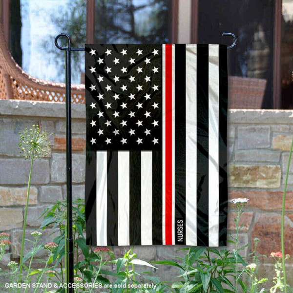 Nurses Red Thin Line Garden Flag is 13x18 inches in size, is made of 2-layer polyester, screen printed logos and lettering, and is viewable on both sides. Available same day shipping, our Nurses Red Thin Line Garden Flag is a great addition to your decorative garden flag selections.