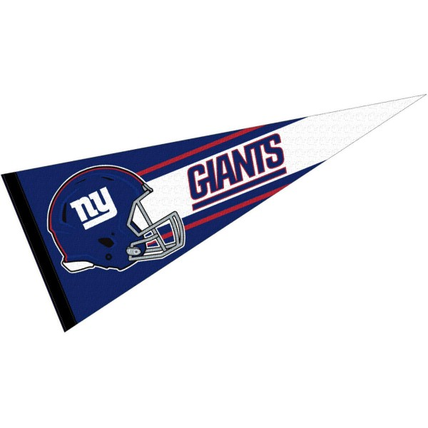 This NY Giants Football Pennant measures 12x30 inches, is constructed of felt, and is single sided screen printed with the NY Giants logo and helmets. This NY Giants Football Pennant is a NFL Officially Licensed product.