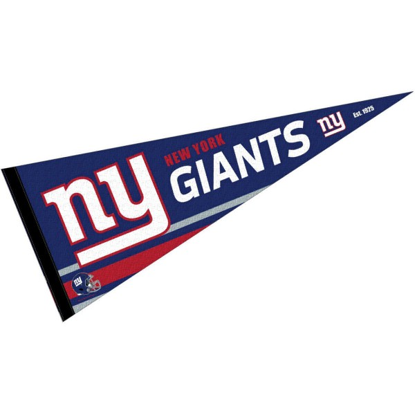 This NY Giants Full Size Pennant is 12x30 inches, is made of premium felt blends, has a pennant stick sleeve, and the team logos are single sided screen printed. Our NY Giants Full Size Pennant is NFL Officially Licensed.