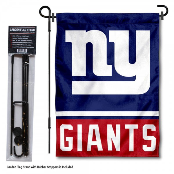 "NY Giants Garden Flag and Stand kit includes our 13""x18"" garden banner which is made of 2 ply poly with liner and has screen printed licensed logos. Also, a 40""x17"" inch garden flag stand is included so your NY Giants Garden Flag and Stand is ready to be displayed with no tools needed for setup. Fast Overnight Shipping is offered and the flag is Officially Licensed and Approved by the selected team."