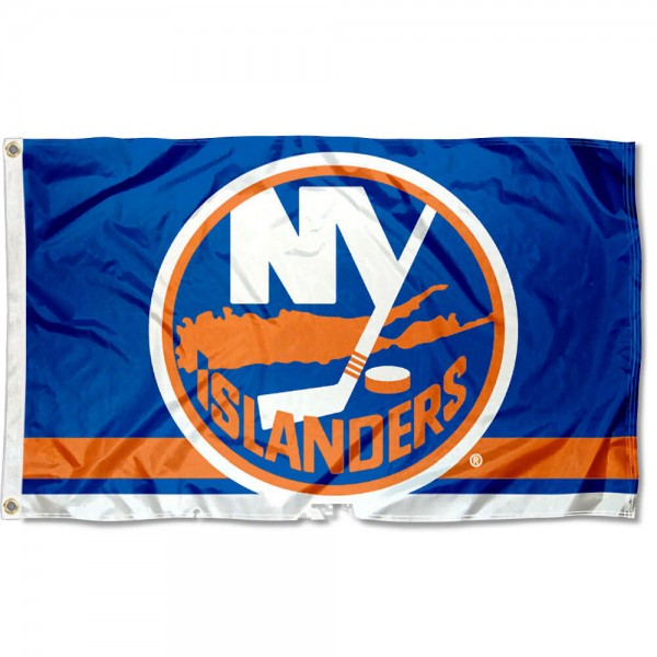 The NY Islanders Flag is four-stitched bordered, double sided, made of poly, 3'x5', and has two grommets. These New York Islanders Flags are NHL Genuine Merchandise.