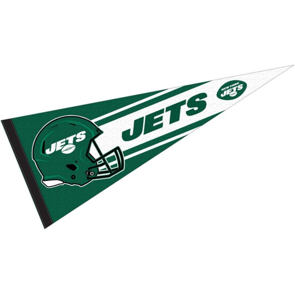 This NY Jets Football Pennant measures 12x30 inches, is constructed of felt, and is single sided screen printed with the NY Jets logo and helmets. This NY Jets Football Pennant is a NFL Officially Licensed product.