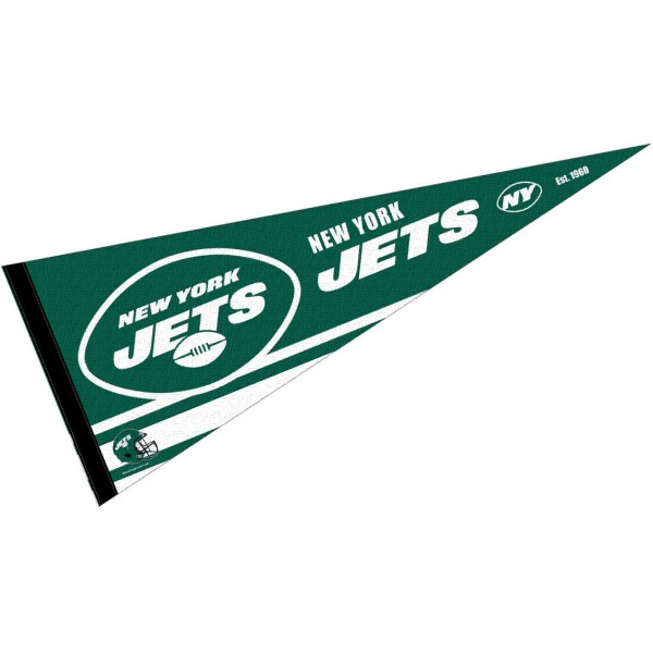 This NY Jets Full Size Pennant is 12x30 inches, is made of premium felt blends, has a pennant stick sleeve, and the team logos are single sided screen printed. Our NY Jets Full Size Pennant is NFL Officially Licensed.