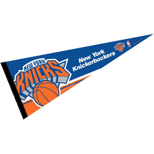 This NY Knicks Pennant measures 12x30 inches, is constructed of felt, and is single sided screen printed with the NY Knicks logo and insignia. Each NY Knicks Pennant is a NBA Officially Licensed product.