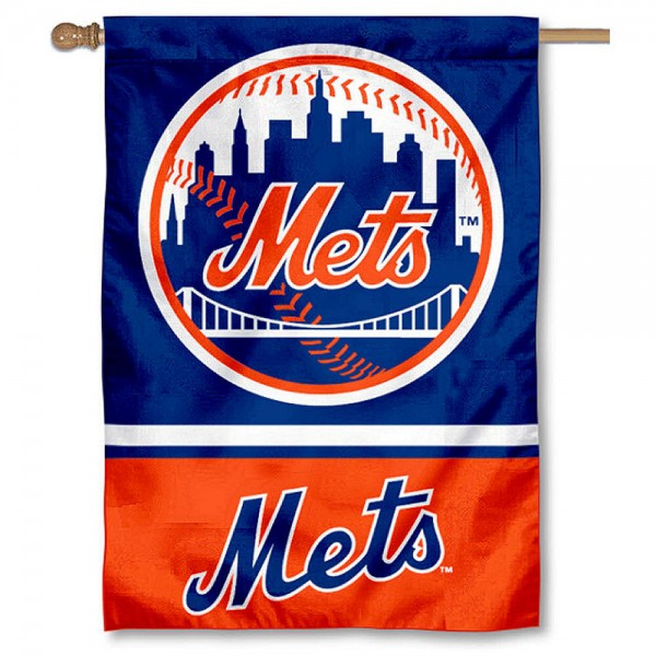 NY Mets Double Sided House Flag is screen printed with NY Mets logos, is made of 2-ply 100% polyester, and is two sided and double sided. Our banners measure 28x40 inches and hang vertically with a top pole sleeve to insert your banner pole or flagpole.