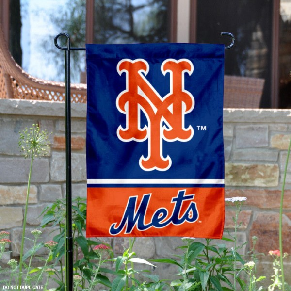 NY Mets Garden Flag is 12.5x18 inches in size, is made of 2-ply polyester, and has two sided screen printed logos and lettering. Available with Express Next Day Shipping, our NY Mets Garden Flag is MLB Genuine Merchandise and is double sided.
