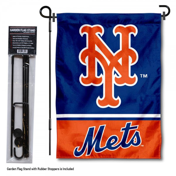 "NY Mets Logo Garden Flag and Stand kit includes our 13""x18"" garden banner which is made of 2 ply poly with liner and has screen printed licensed logos. Also, a 40""x17"" inch garden flag stand is included so your NY Mets Logo Garden Flag and Stand is ready to be displayed with no tools needed for setup. Fast Overnight Shipping is offered and the flag is Officially Licensed and Approved by the selected team."